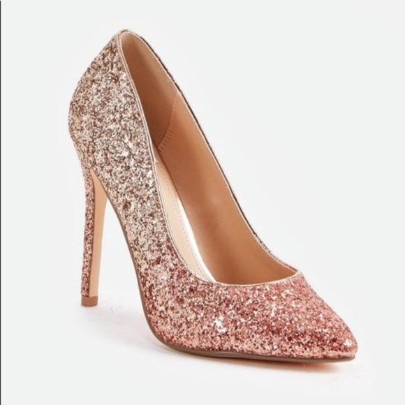 349742e53be JustFab Shoes - NWOB JustFab Ombré Pink   Rose Gold Glitter Heels